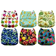 Mama Koala One Size Baby Washable Reusable Pocket Cloth Diapers, 6 Pack with 6 One Size Microfiber Inserts (Juicy Booty)