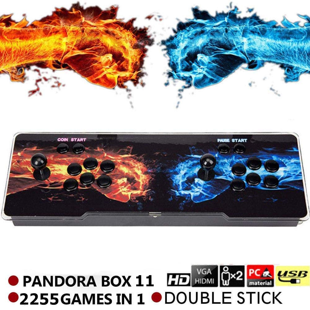 SeeKool Pandora 11 Arcade Video Game Console, 2255 in 1 Retro Video Games Colorful LED Double Stick Arcade Console, HDMI VGA USB Newest System Arcade Machine, Built-in Speaker