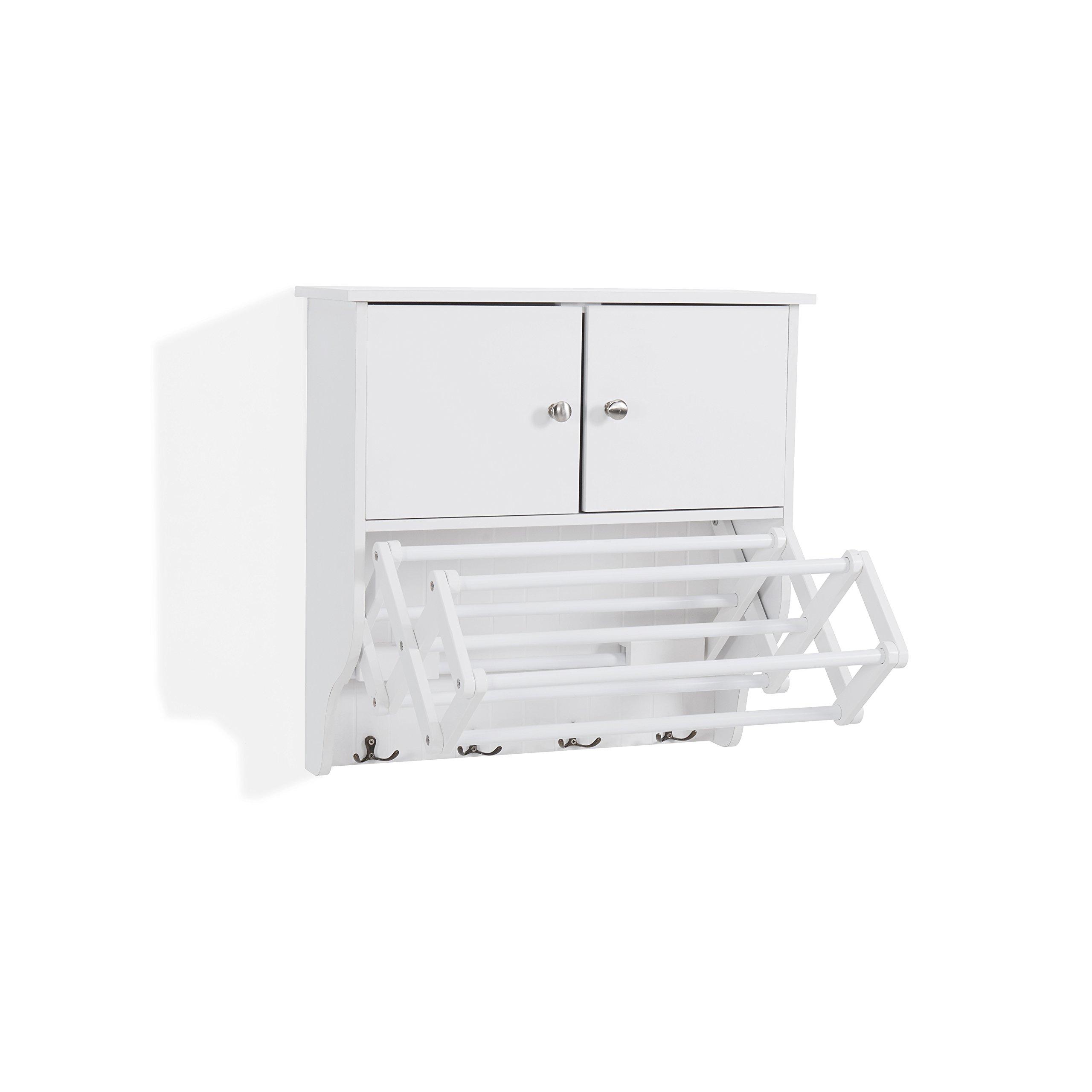 Danya B. Accordion Wall Mount Drying Rack with Cabinet,White