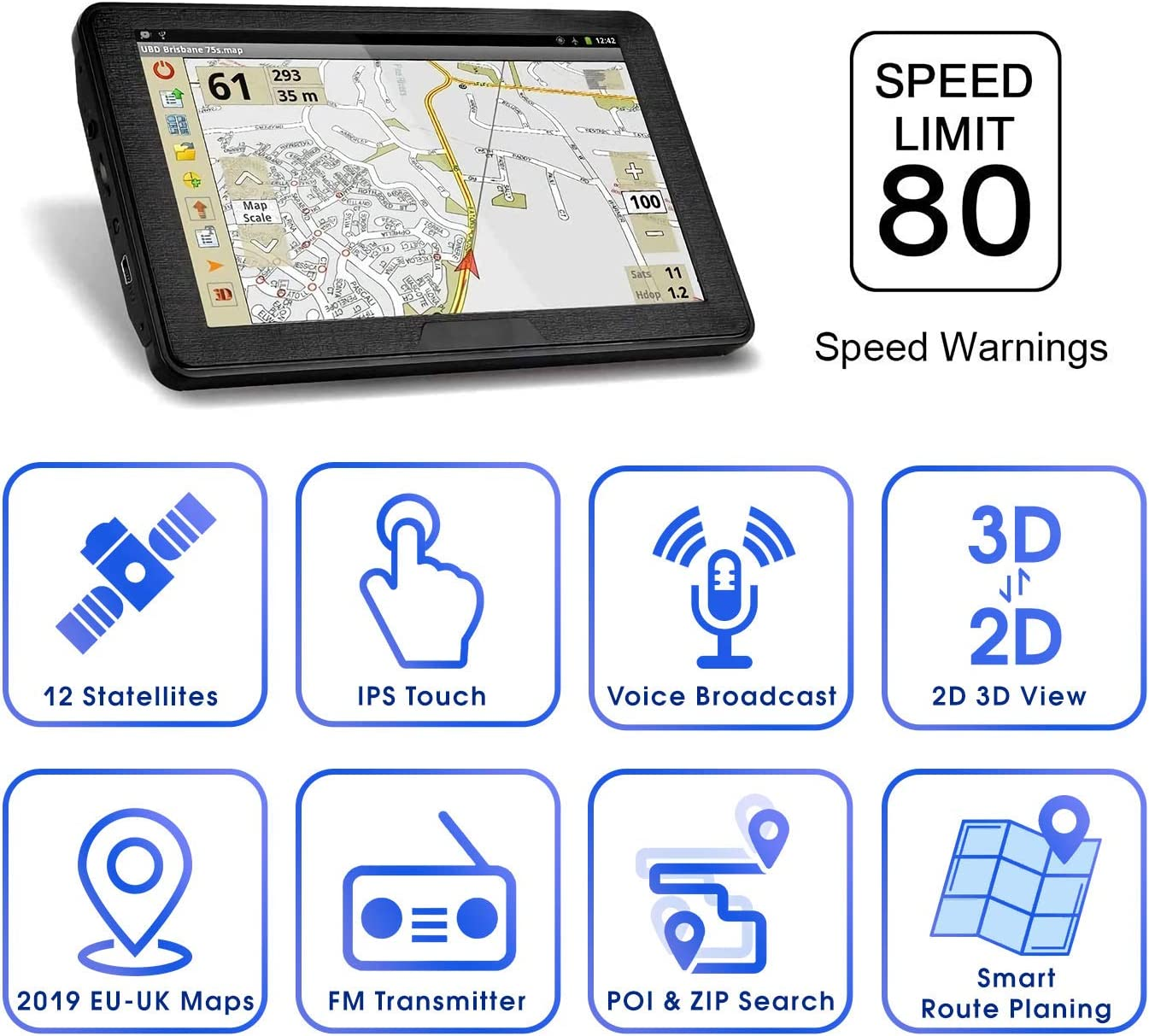 Free Upgrade Map for a Lifetime. Latest 2020 Map 7 Inch Touchscreen 8G 256M Navigation System with Voice Navigation System GPS Navigation for Car Truck