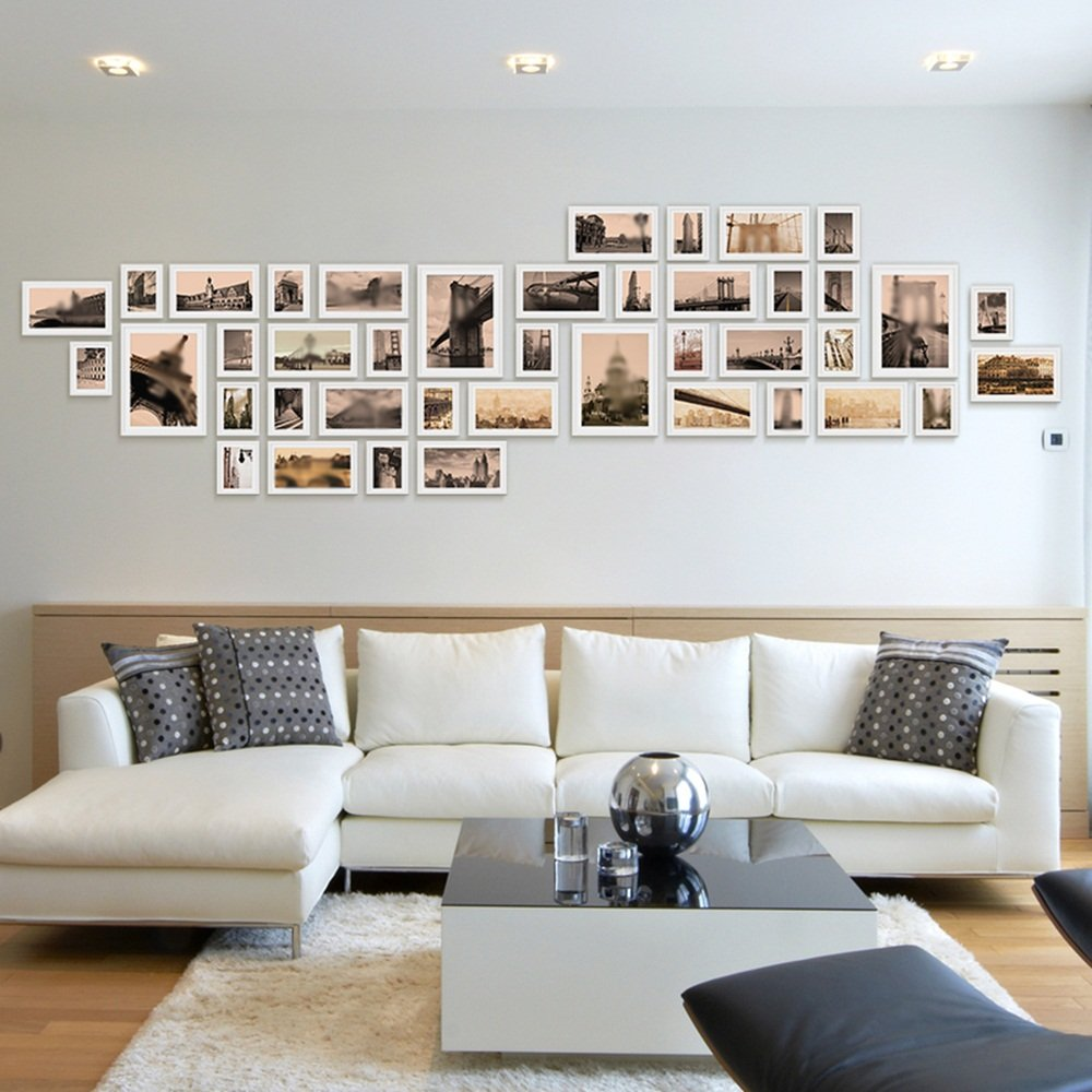 Large wall simple modern living room photo wall / European photo wall / large photo frame wall combination wall 41 box 380 120cm ( Color : White )