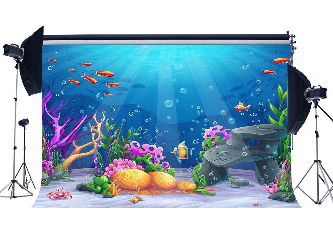 rbabyphotoマーメイドBackdrop 9 X 6ft Underwater Worldコーラル魚バブルSea WorldブルーOcean Sailing水族館写真背景のガールズ部屋壁紙Summer Fiesta Photo Studioプロップビニールck234   B07G12XT3L