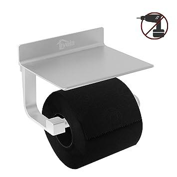 Edelstahl Toilettenrollenhalter Toilettenpapierhalter WC Rollenhalter mit Ablage