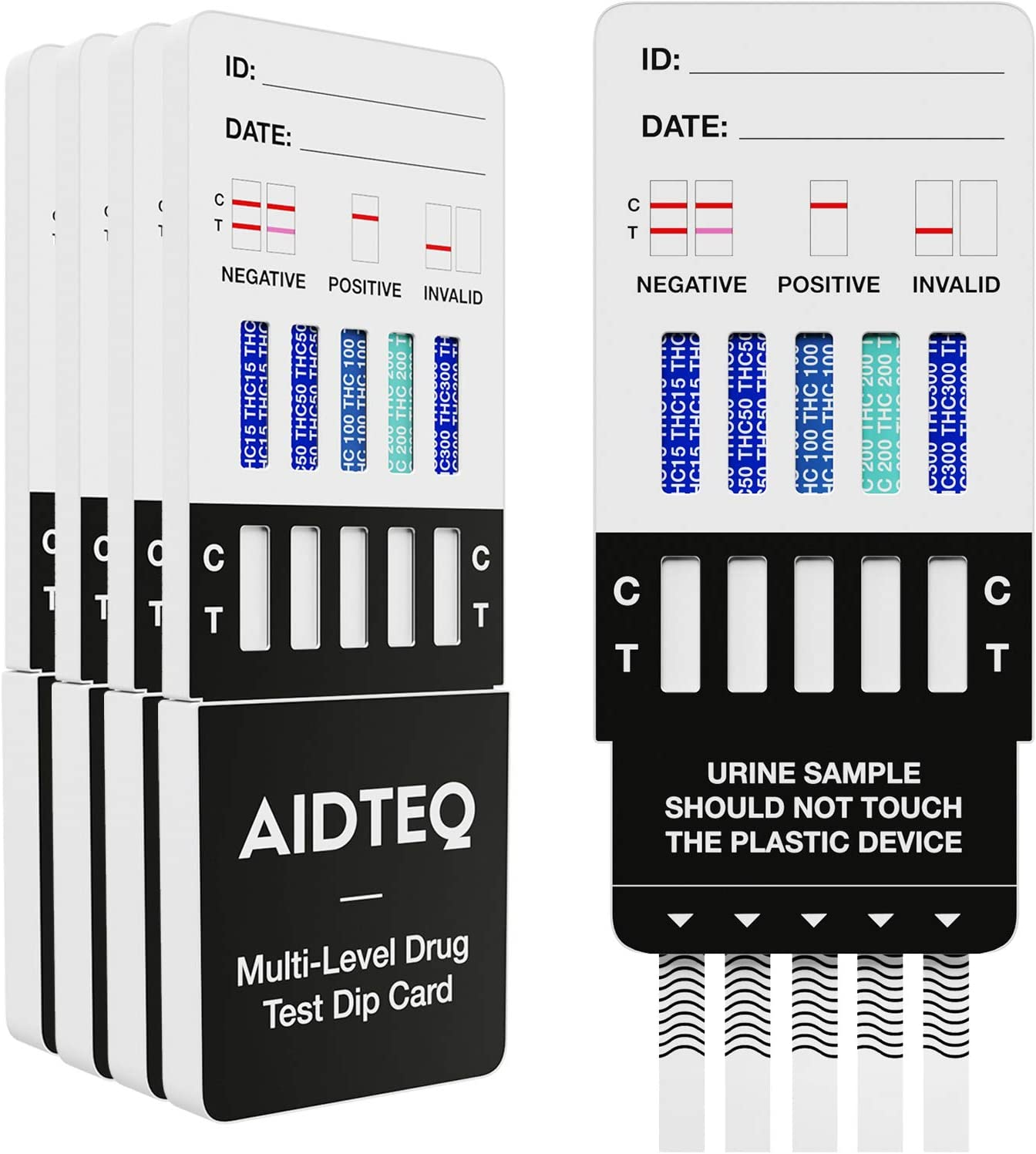 5 x Aidteq Professional 5 Level Marijuana Rapid Drug Test Dip Cards | Urine Drug Test | Test for The Presence of Cannabis (THC) at 300ng/mL, 200ng/mL, 100ng/mL, 50ng/mL, and 15ng/mL