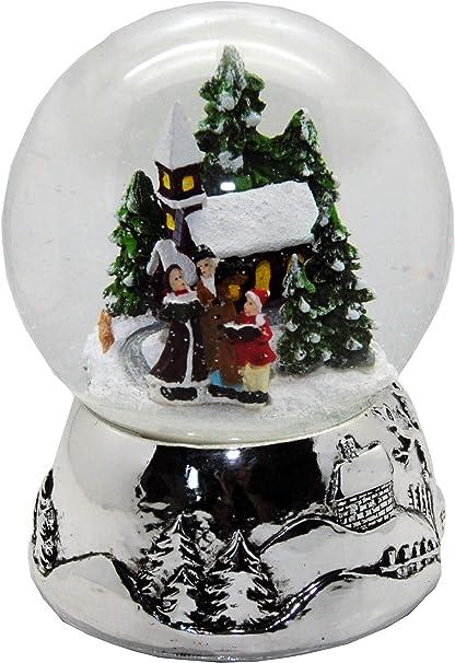 MINIUM-Collection 20094 Bola de Nieve Bonitas Invierno spazi ergangt Socket de & de Plata de Navidad Paisaje de Invierno con Parte Reloj Jingle Bells 100 mm de diámetro: Amazon.es: Hogar