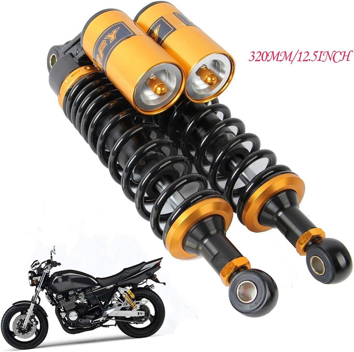 Premium Universal Motorcycle Shock Absorber Rear Suspension Air 320mm 330mm 12.6 Black Pair