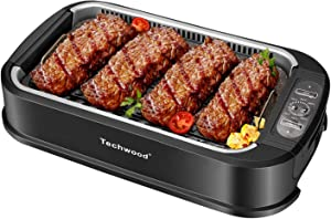 Techwood Indoor Grill Smokeless Grill, Electric Korean BBQ Grill with Glass Lid, Turbo Smoke Extractor Technology, Dishwasher-Safe Drip Tray & Nonstick Grilling Removable Plate, Black, 1500W