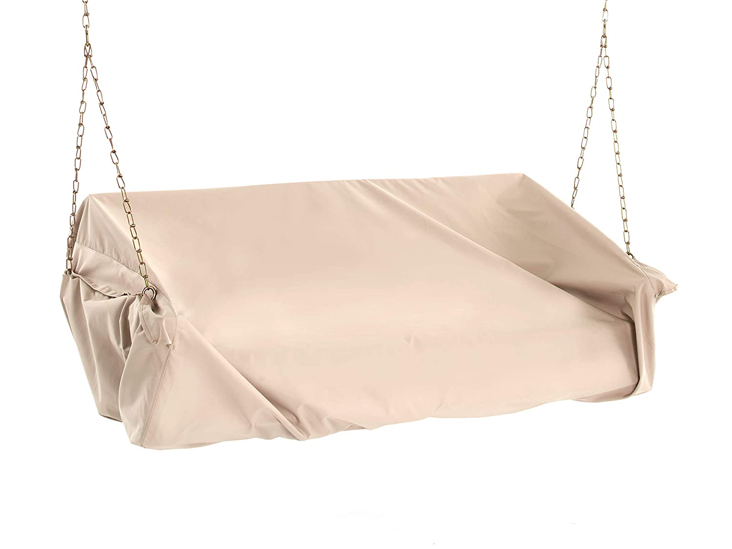 Covermates Outdoor Swing Covers 63W x 26D x 26H Elite 300D Stock-Dyed Polyester Elastic Hem Cinches at Bottom Touch Fastener Closure 3 YR Warranty Weather Resistant – Khaki