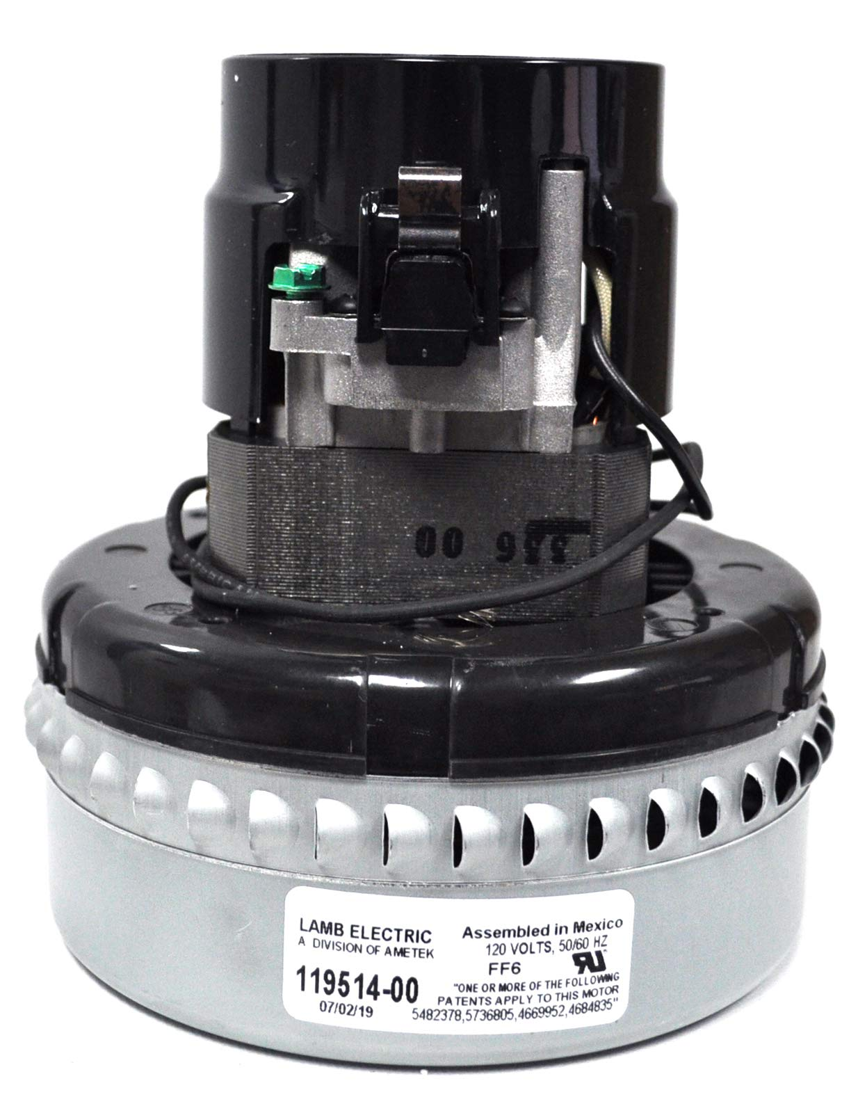 Ametek Lamb 5.7 Inch 2 Stage 120 Volt B/B Peripheral Bypass Motor 119514-00 by Ametek