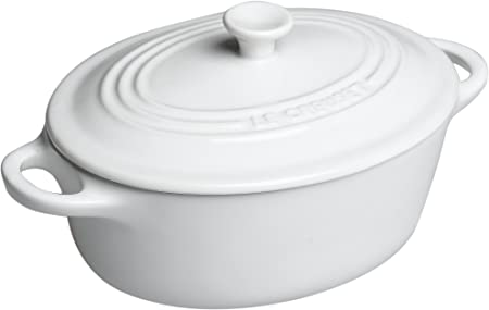 Le Creuset Stoneware 12-Ounce Mini Oval Cocotte, White