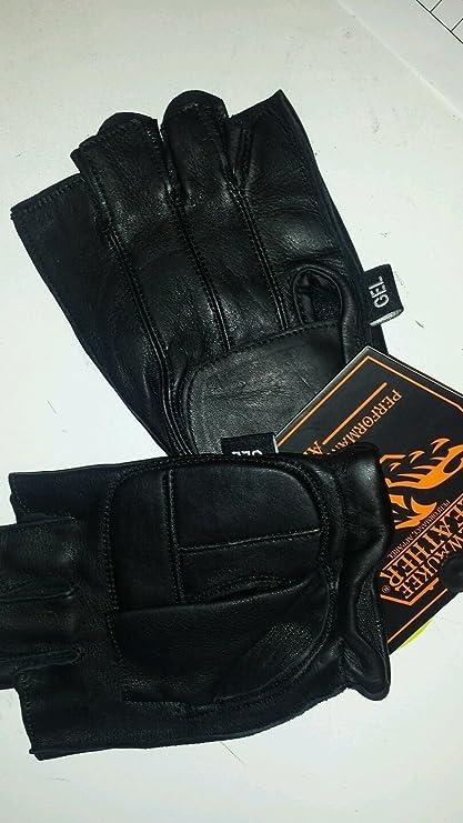 Details about  /Deer Skin Leather Fingerless Motorcycle Gloves Gel In Palm Heavy Duty Snug XS-4X