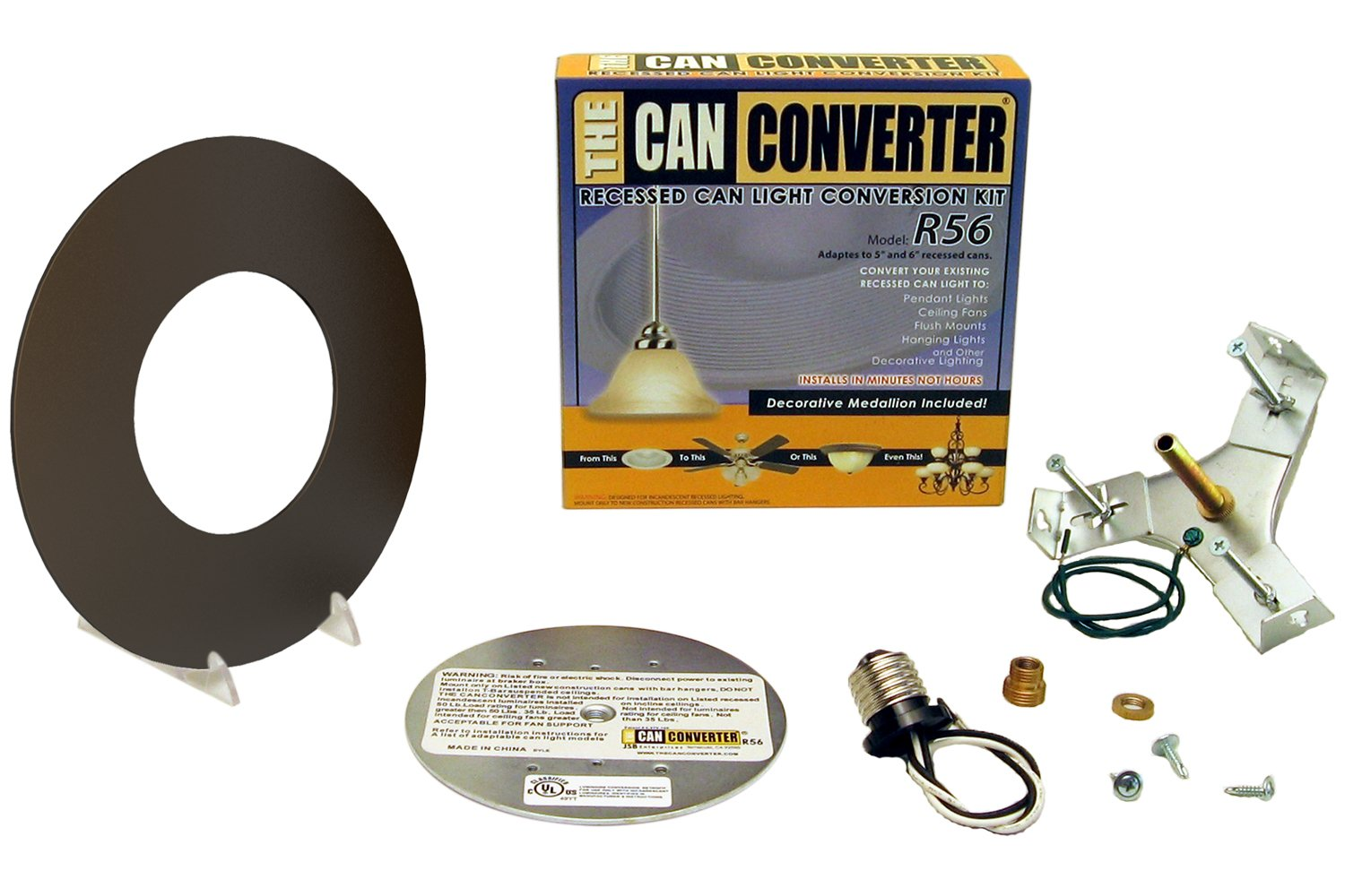 Recessed Can Light Converter Kit for 5'' and 6'' Recessed Can Lights (Oil Rubbed Bronze)