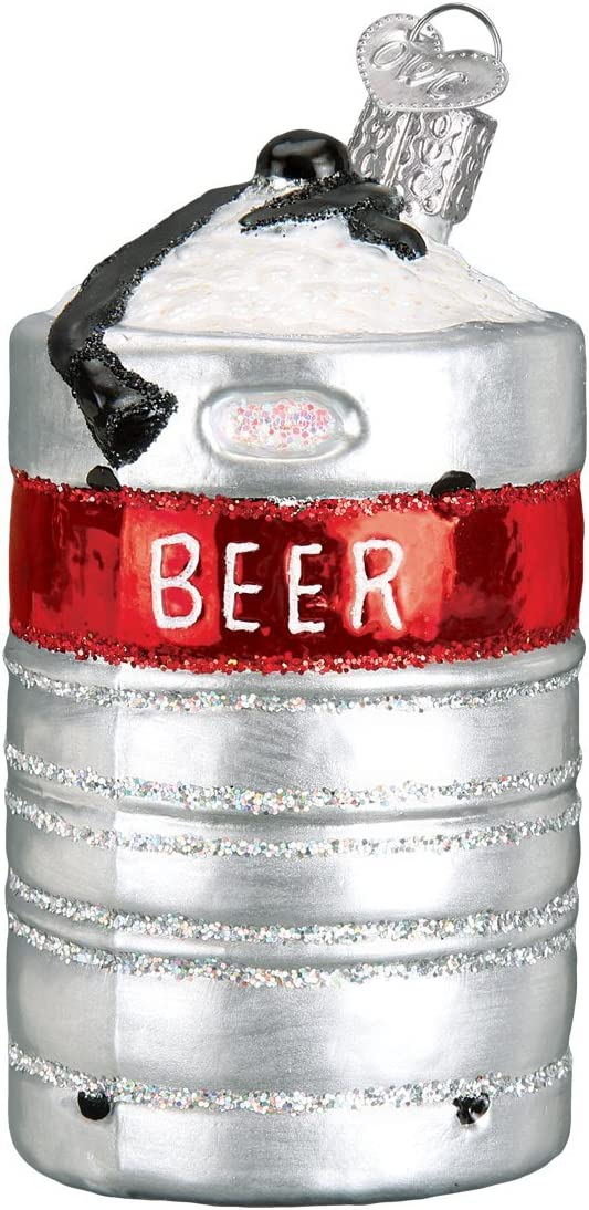 Old World Christmas Craft Collection Glass Blown Ornaments for Christmas Tree, Aluminum Beer Keg