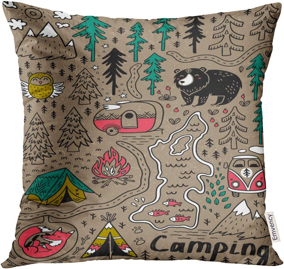 Emvency Throw Pillow Cover Camp Funny Map with Nature Landscape Camping and Cute Animals in The Forest Fox Decorative Pillow Case Home Decor Square 16x16 Inches Pillowcase