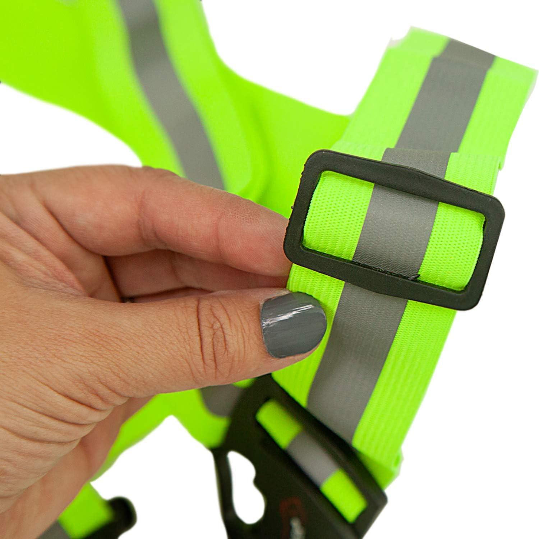 360 /º Fluorescent Visibility Easy to Wear Lightweight Reusable SAFE HANDLER Reflective Fluorescent Belt Black 2 PACK Adjustable