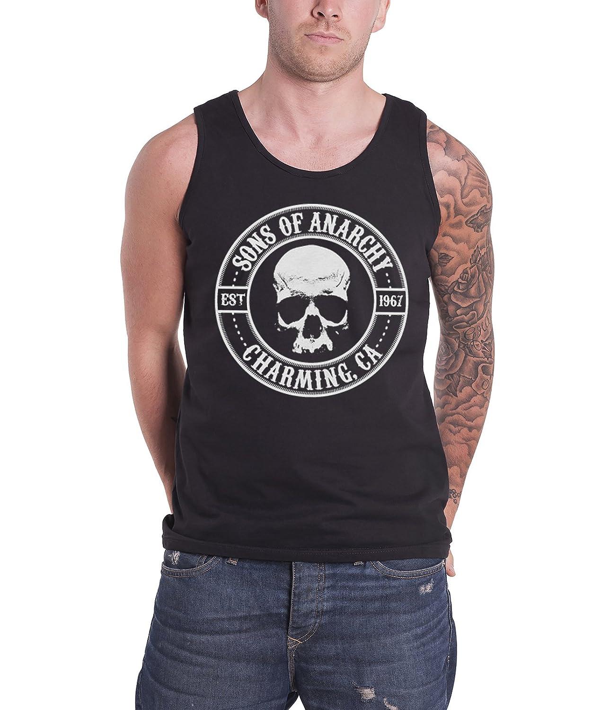 a5b01de2 Amazon.com: Sons of Anarchy Mens Vest Top Black SOA Seal Charming Est 1967  Official: Clothing