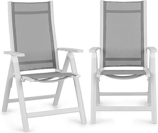 Blumfeldt Cádiz Garden Chair - Dos sillas de jardín, Plegables, Estructura Aluminio, Protección Pintura en Polvo, Tela 2x2 MTS. de Secado rápido, Respaldo 7 Posiciones, Blanco/Gris Claro: Amazon.es: Jardín