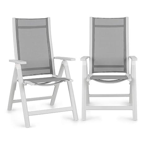 Blumfeldt Cádiz Garden Chair - Dos sillas de jardín , Plegables , Estructura Aluminio , Protección Pintura en Polvo , Tela 2x2 MTS. de Secado rápido , ...