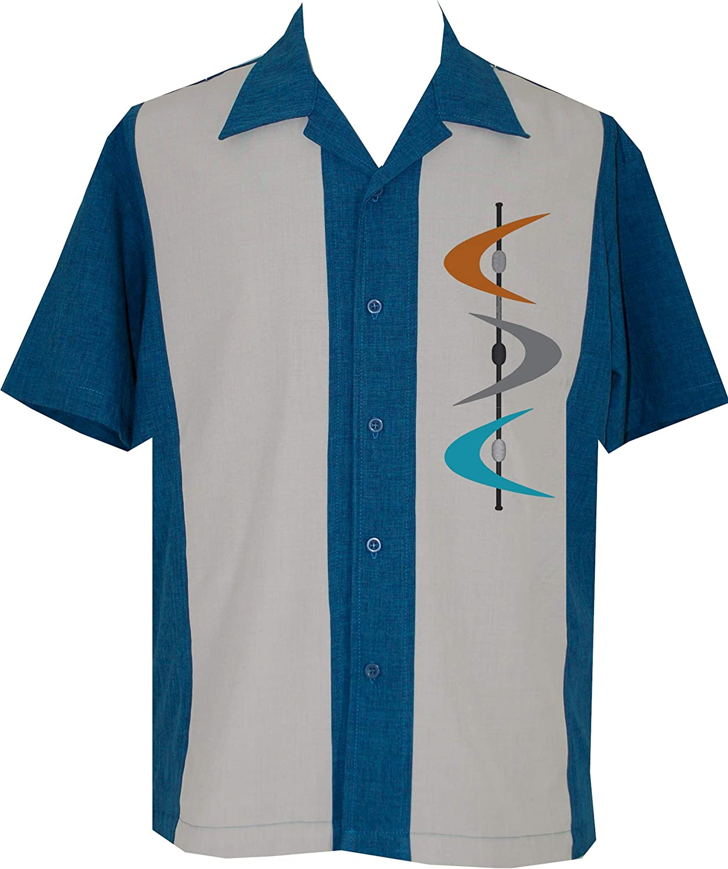 1950s Men's Clothing Lucky Paradise Mens Camp Shirt Vintage Cuban Style Bowling Shirt Mid-Century ~ Guayabera Dress Shirt Style $65.95 AT vintagedancer.com