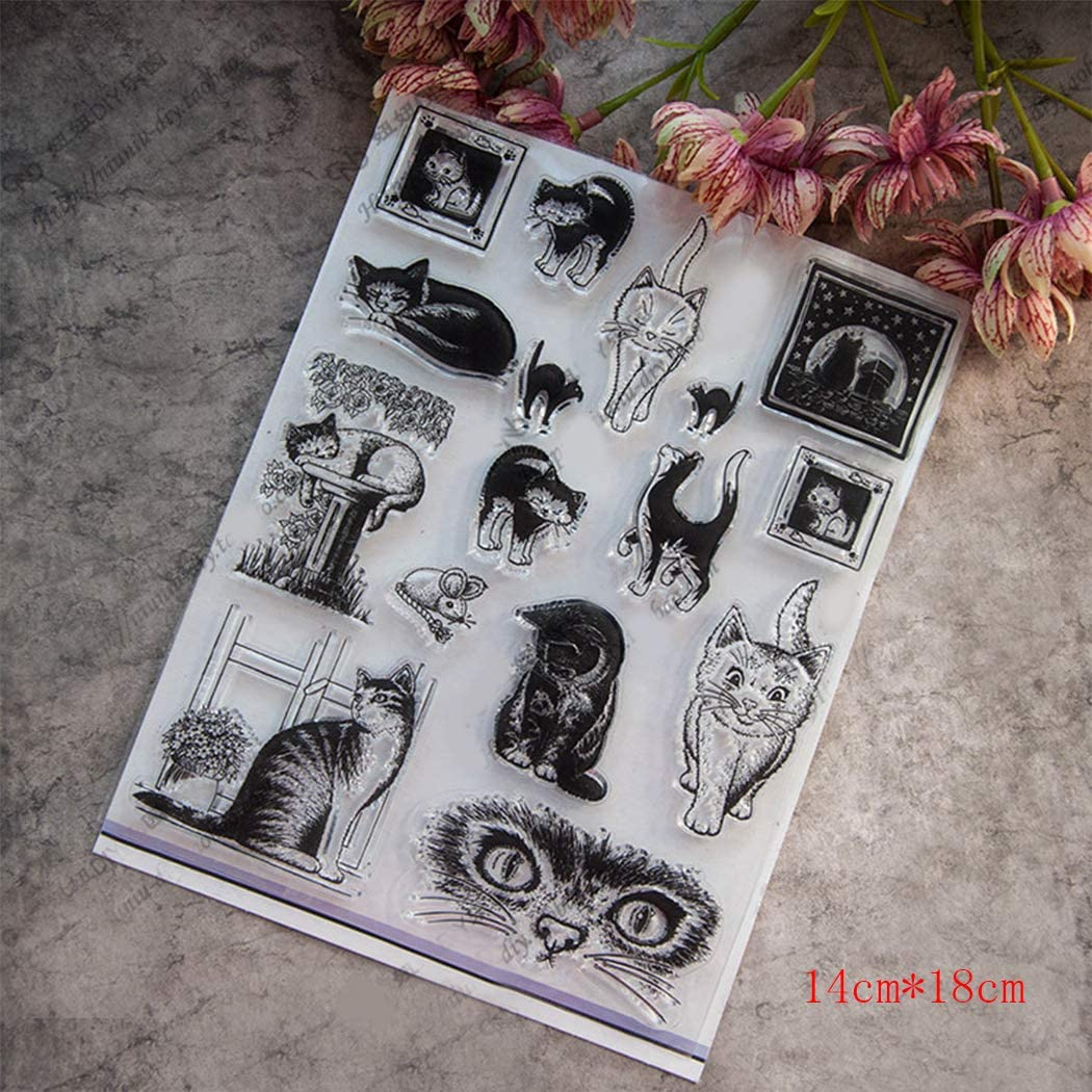 BINGMAX Clear Stamps Cute Cats Silicone for Card Making Paper Craft Photo Albums Scrapbooking
