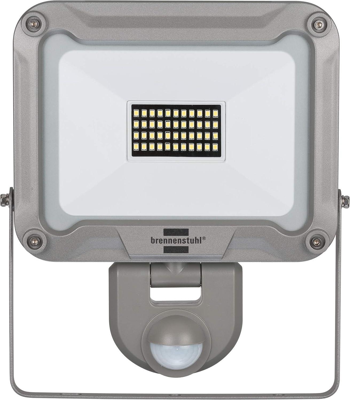 silber f/ür au/ßen mit Bewegungsmelder, zur Wandmontage, LED-Fluter 50W aus Aluminium, IP44 Brennenstuhl LED Au/ßenstrahler JARO 5000P