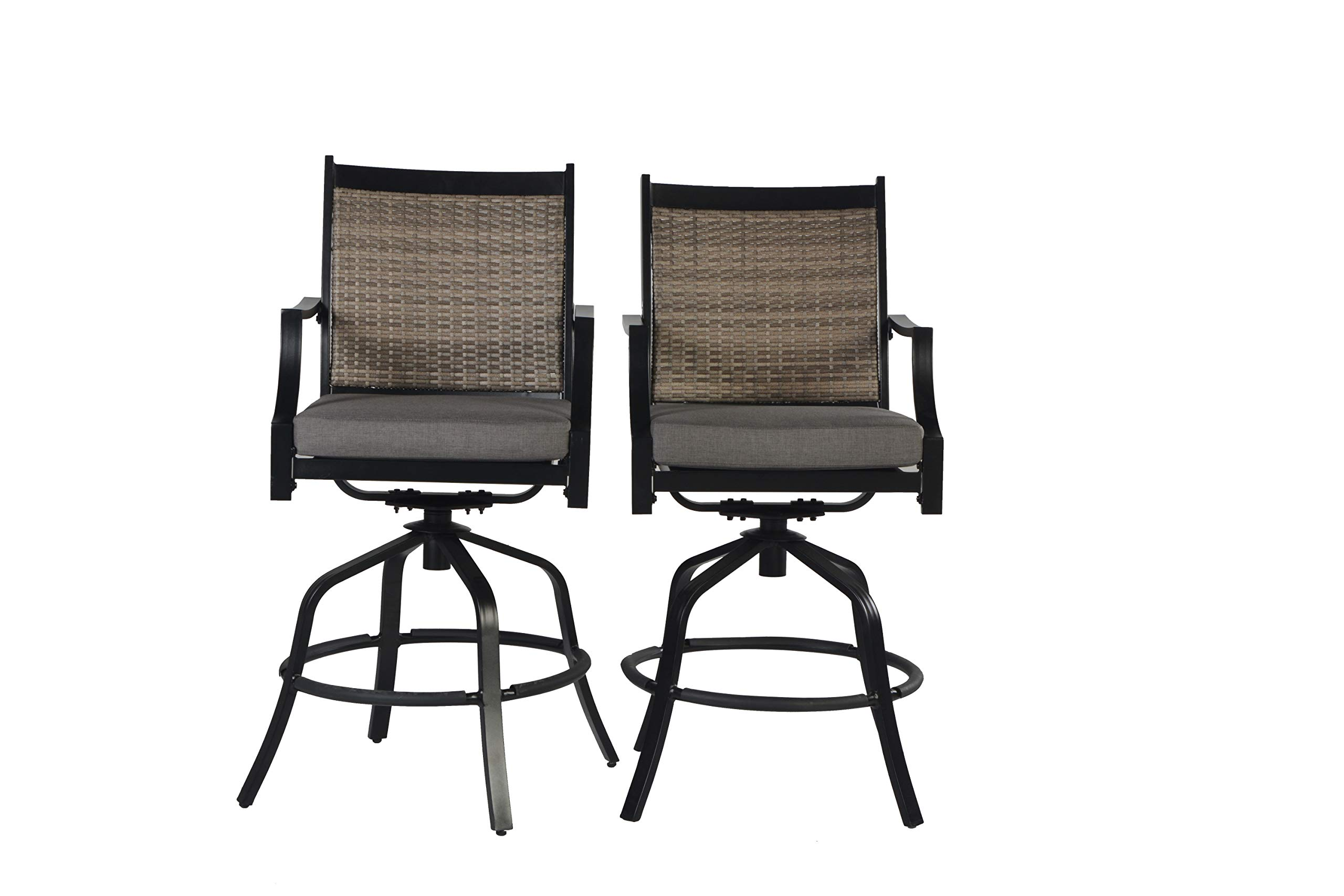 Pebble Lane Living All Weather Rust Proof Indoor/Outdoor Powder Coated Aluminum Swivel Wicker Patio Bar Arm Stools, Premium All Season Olefin Cushions, Black/Grey, 24'' W x 32'' x 49'' H, Set of 2