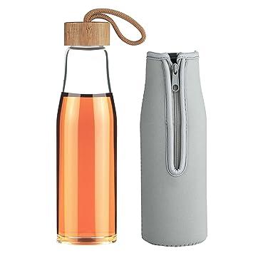 Life4u Botella de Agua para Deporte de Cristal con Tapón de Bambú, 480 ML