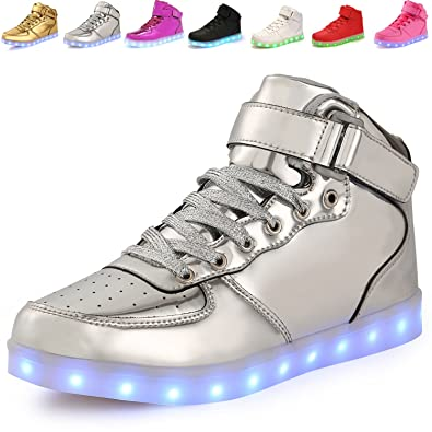 3c26976c9e833 ANLUKE Kids High Top Light Up LED Shoes 11 Colors Sneakers as Gift for Boys  Girls Men Women