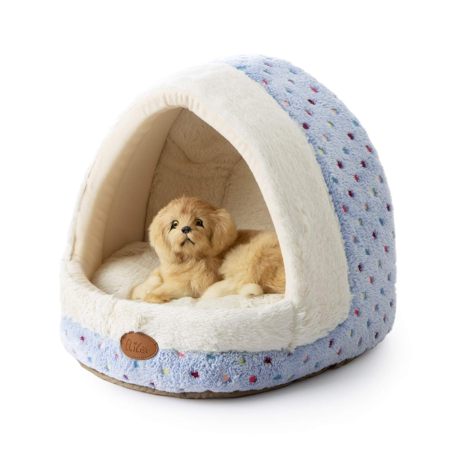 Tofern Colorful Dots Patterns Striped Cute Pet Fleece Bed Puppy Small Medium Dog Cat Sleeping Igloo House Non-Slip Warm…