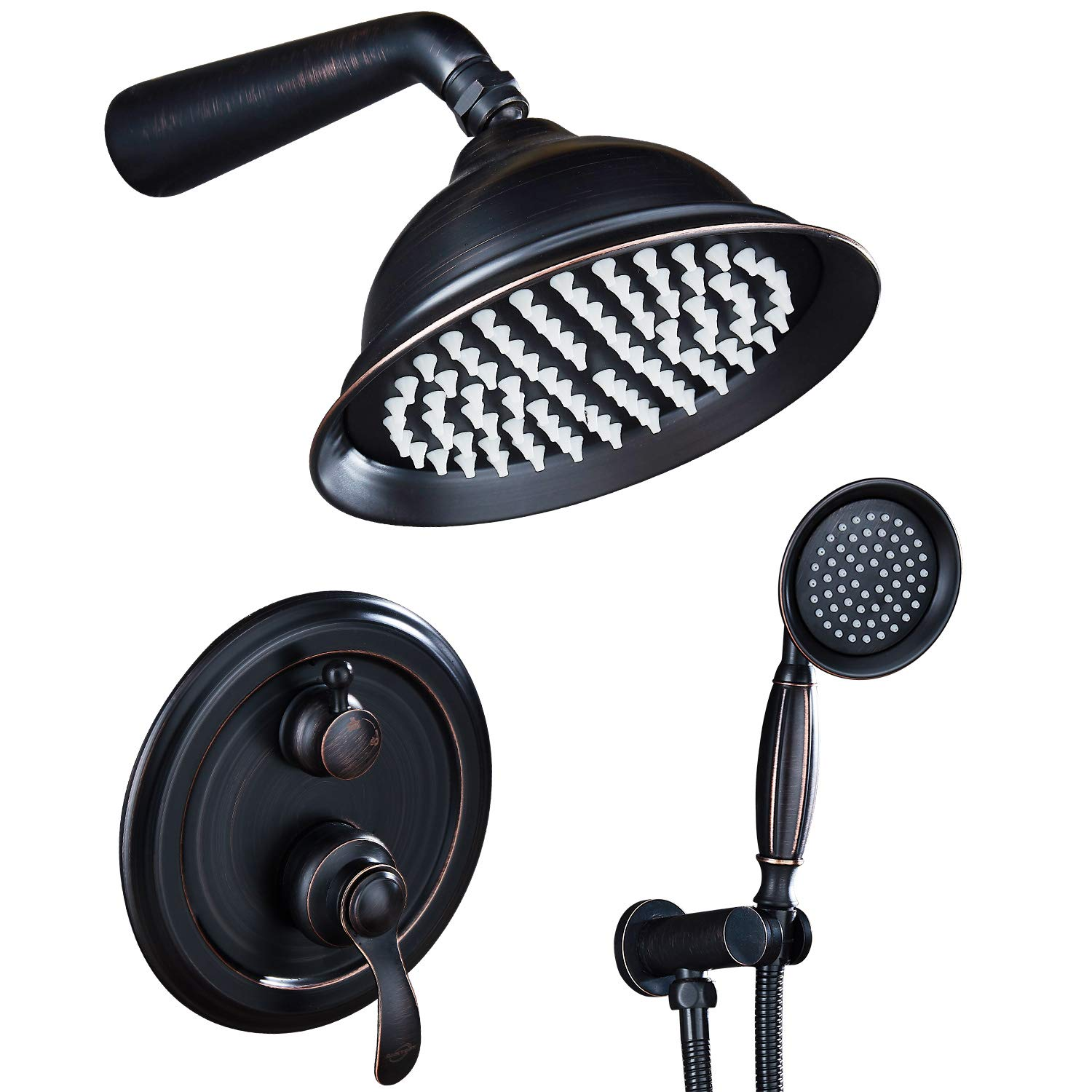 AUKTOPT AS-LB3508 Rainfall Shower Head System with Handshower Bathroom Luxury Rain Mixer Combo Set, A, Oil Rubbed Bronze(Contain Faucet Rough-In Valve)