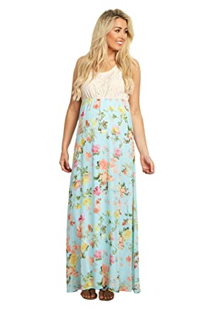 21ec9853c9d8 PinkBlush Maternity Crochet Top Floral Chiffon Bottom Maxi Dress at Amazon  Women's Clothing store: