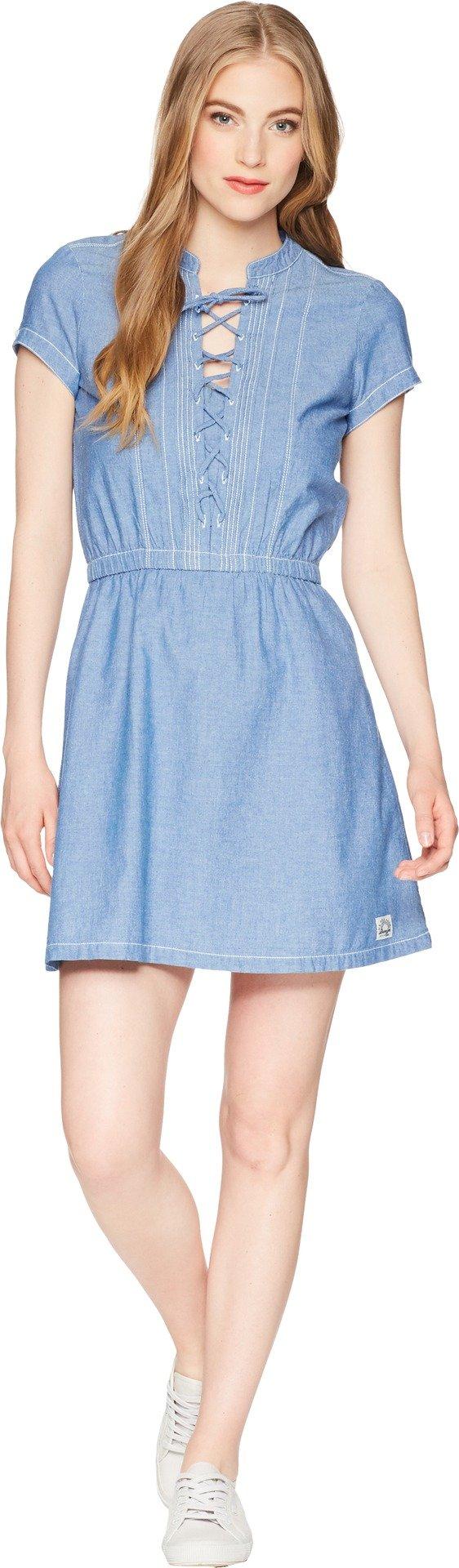 U.S. Polo Assn.. Women's Fashion Dress, Chambray Blue Chambray, L