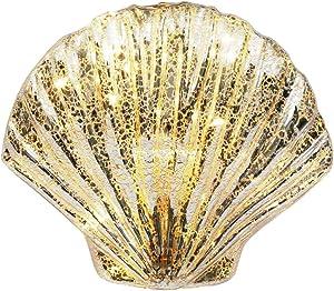 CEDAR HOME LED Lamp Light Table Decor Mercury Glass Shell Glass Nightlight for Patio Bedroom Dining Desk, Shell