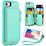 iPhone 8 Wallet Case, iPhone 7 Case with Card Holder, ZVE iPhone 7 Leather Case With Credit Card Holder Slot & Zipper Wallet, Protective Case for iPhone 7 / iPhone 8 4.7 inch - Mint Green