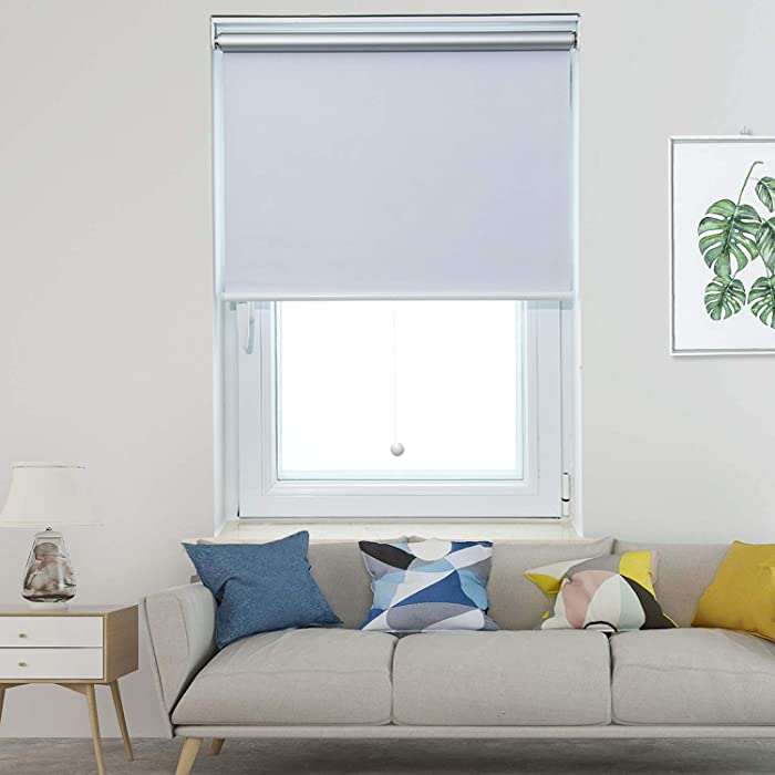 Allesin Roller Shade Blackout Cordless Window Blinds for Home Spring Thermal Solar Shades Room Darkening Easy to Pull Down and Up White 24x72 Inch