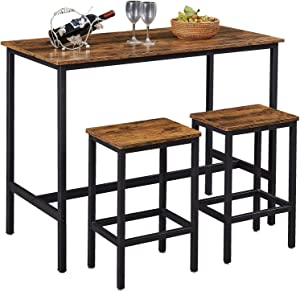 """SUPERJARE Bar Table Set with 2 Bar Stools, 47.2"""" Pub Dining Height Table Set, 3 Pieces Kitchen Counter Set, Vintage Industrial Furniture for Living Room - Rustic Brown"""
