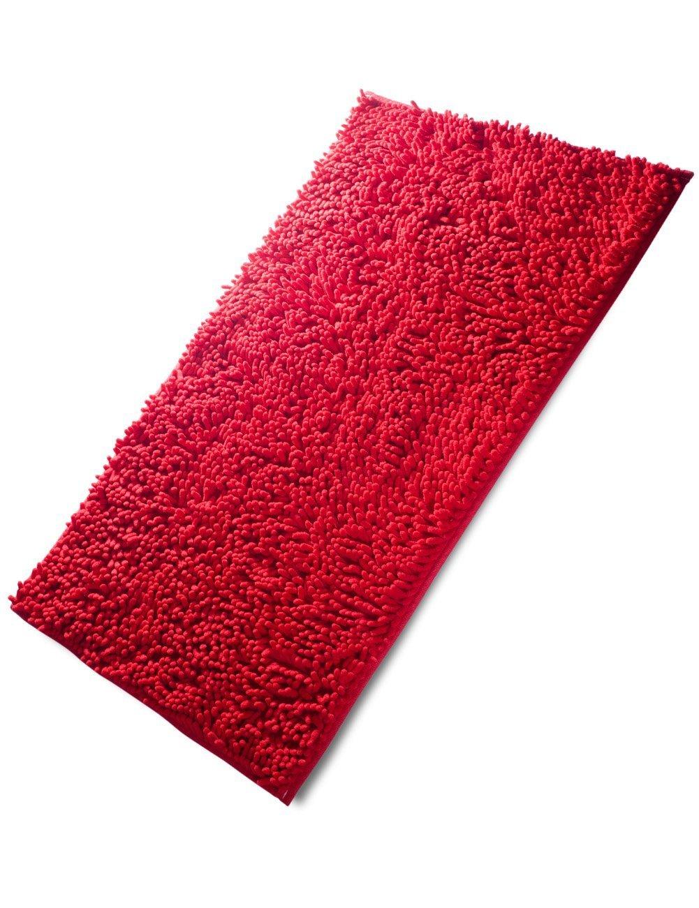 Fadesun Super Soft Absorbent Non-Slip Microfiber Chenille Carpet/Doormat/Bath Mat/Rug Carpet/Floor Rug Bedroom, Sitting Room, Corridor, Kitchen, Bathroom Car Seats, Shower, 20x32, Red 20x32 COMIN18JU072139