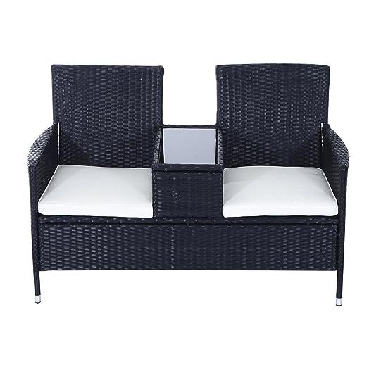 outsunny garden rattan 2 seater companion seat wicker love seat weave partner bench w cushions - Garden Furniture Love Seat