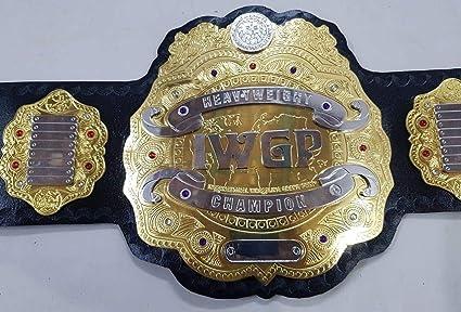 Wrestling Sports Mem, Cards & Fan Shop IWGP Heavyweight Wrestling Champion Leather Belt Dual Metal Plates Adult Replica