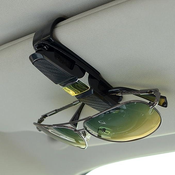 Sonnenbrillen Etui Brillen Halter mit Karten Clip Grau Brillenfach Ablagefach Brillenhalter f/ür Auto Sonnenblende