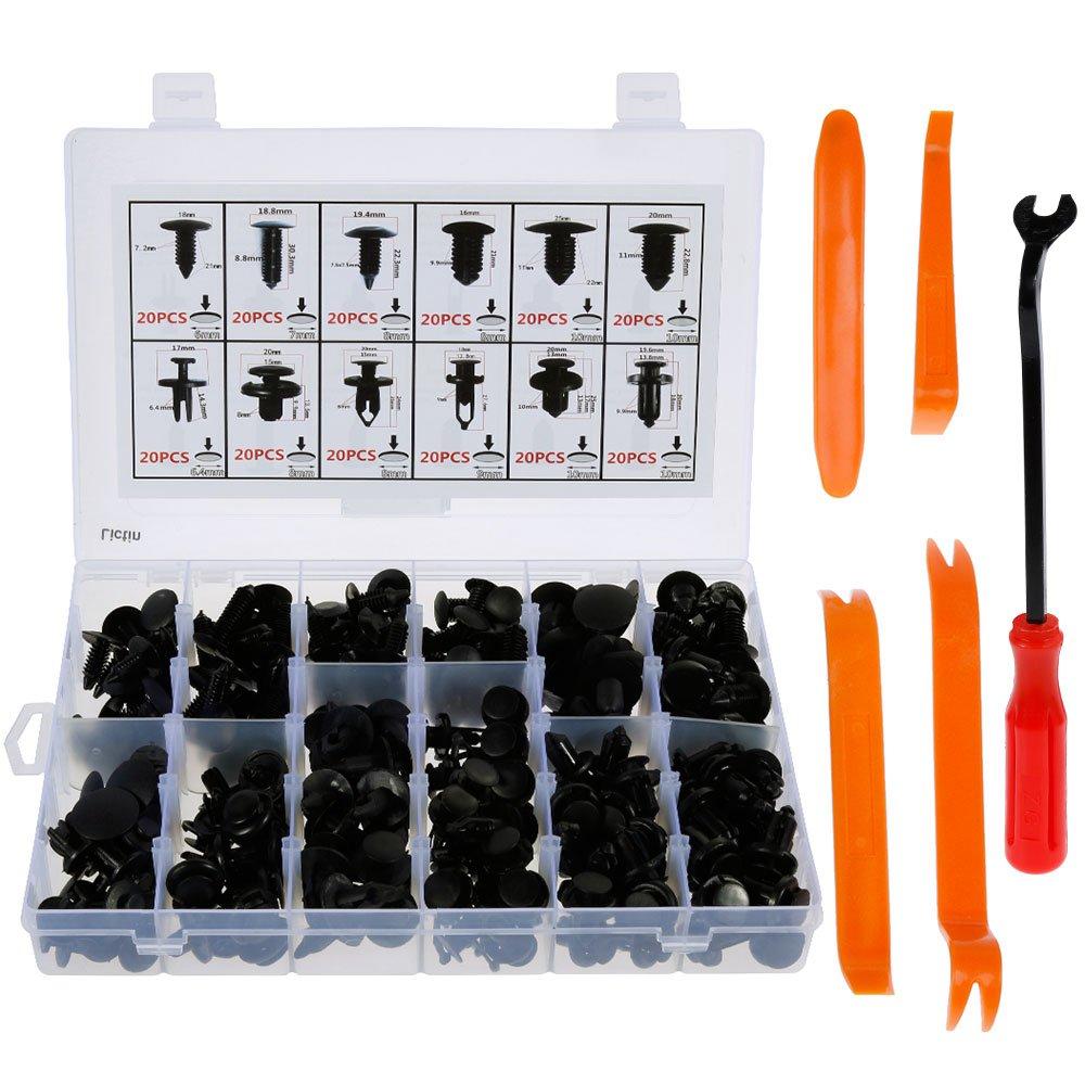 Lictin 240 x Rivet Clips Plastique Rivets Plastiques Fixation de Protection
