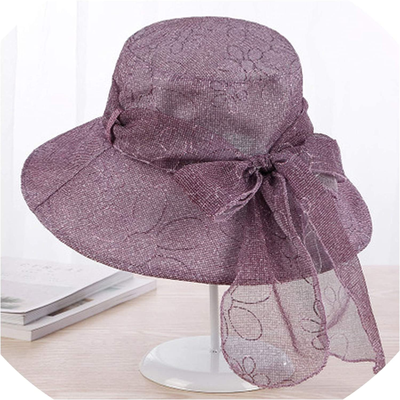 2019 Bow lace Sun Hats for Women Wide Brim Panama Beach hat Summer Girls Bucket caps Womens Flowers Bone
