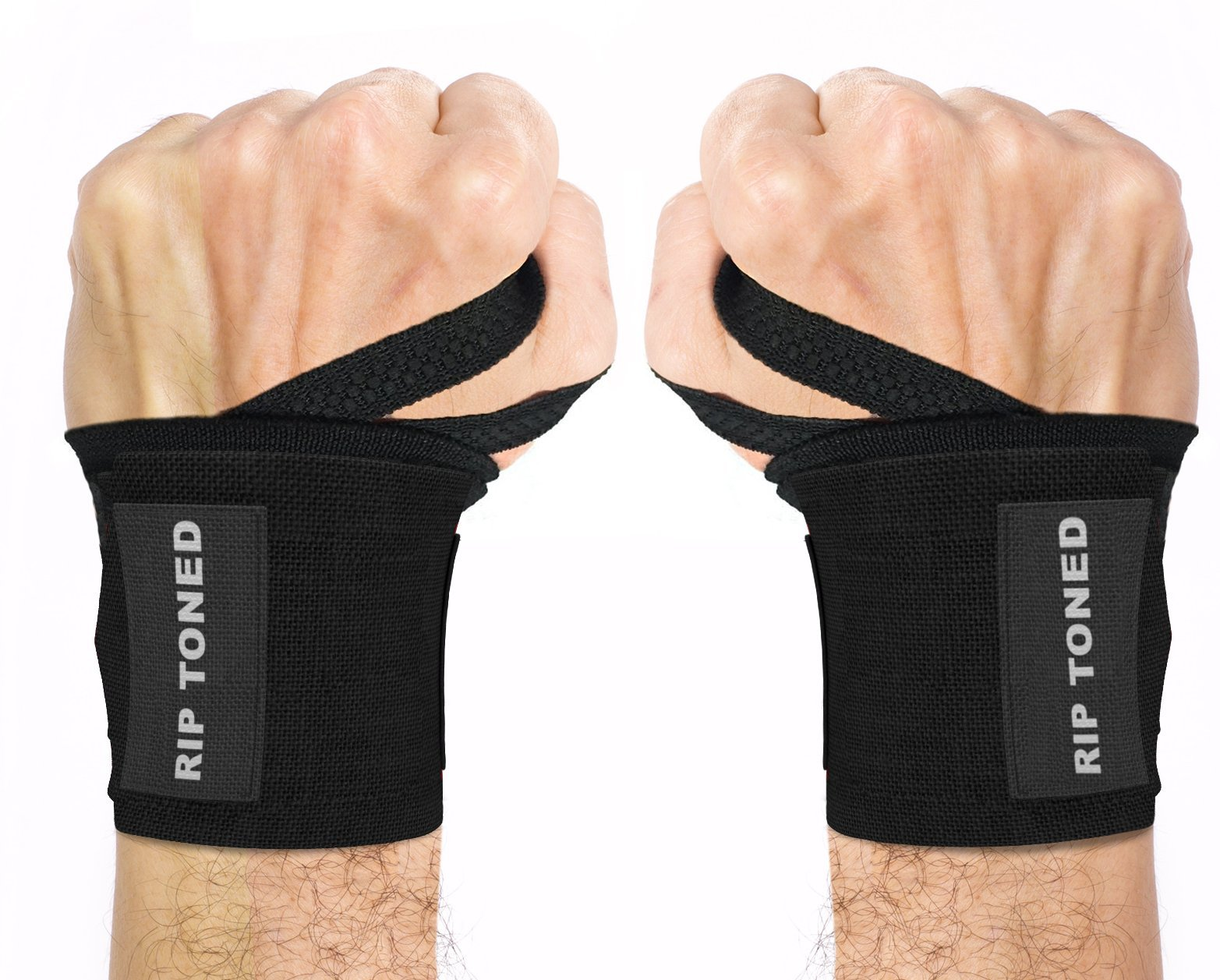 Rip Toned Wrist Wraps 18'' Professional Grade with Thumb Loops - Wrist Support Braces for Men & Women - Weight Lifting, Crossfit, Powerlifting, Strength Training - Bonus Ebook (Black Stiff) by Rip Toned