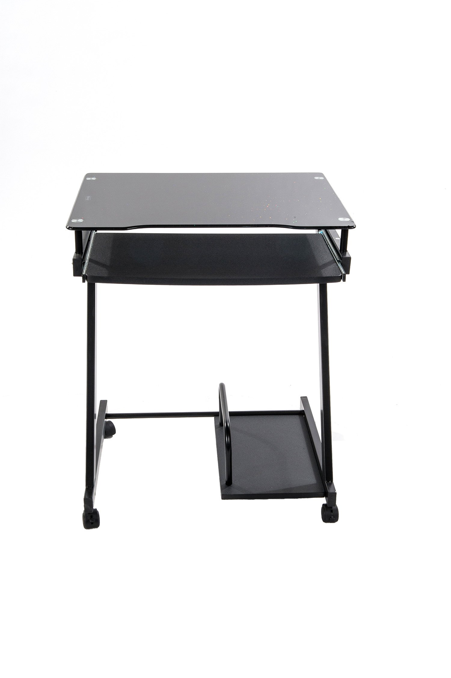 Home Source Industries AMT8811 4359 Glass Computer Cart, Black