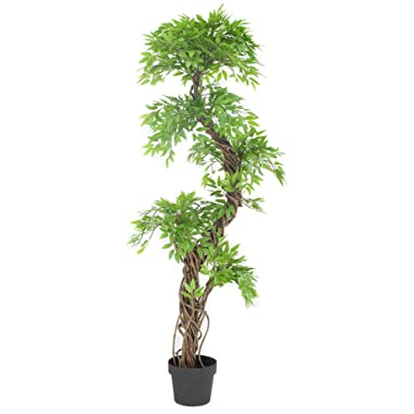 Luxury Japanese Fruticosa Tree, Handmade Artificial Plant, Replica Japanese Tree Made With Real Bark and Synthetic Leaves in a Brown Plastic Pot, 165 Centimetres Tall