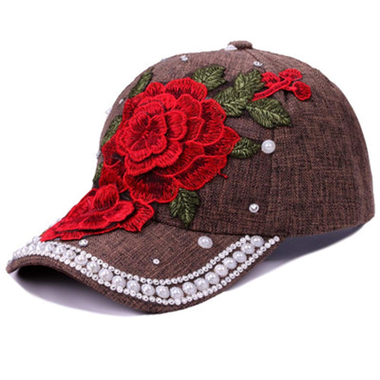 Fashion Embroidery Flower with Rhinestone Pearls Baseball Cap for Women Summer Sun Cap Adjustable