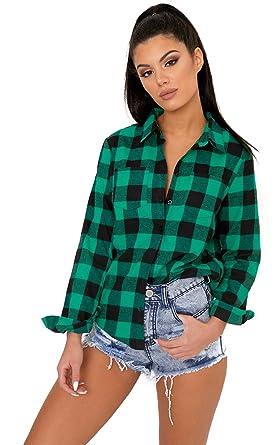 Womens Green Layla Green Checked Shirt - Size : 14: Amazon.co.uk ...