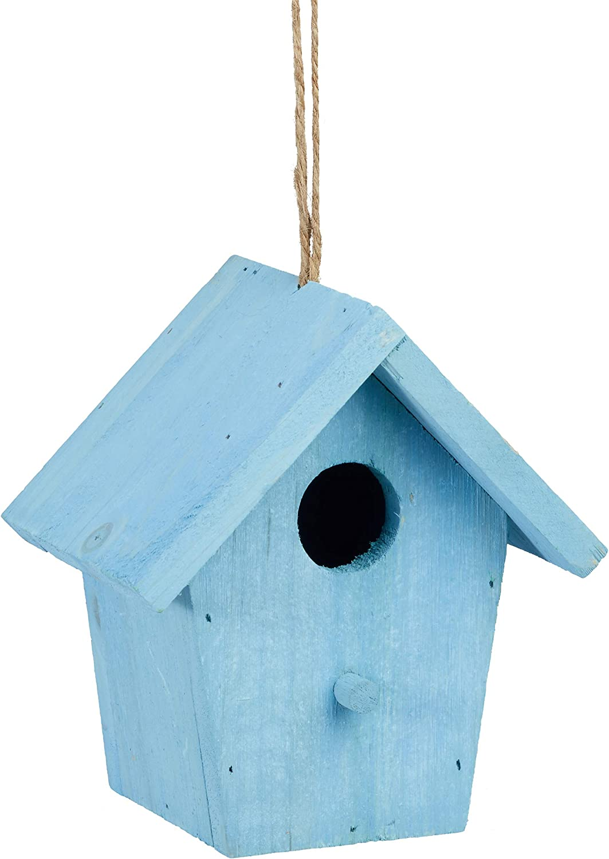 Relaxdays Casita para pájaros, Comedero Colgante de Aves, Adorno de jardín, Madera, 1 Ud, 16x15x11 cm, Azul, 16 x 15 x 11 cm