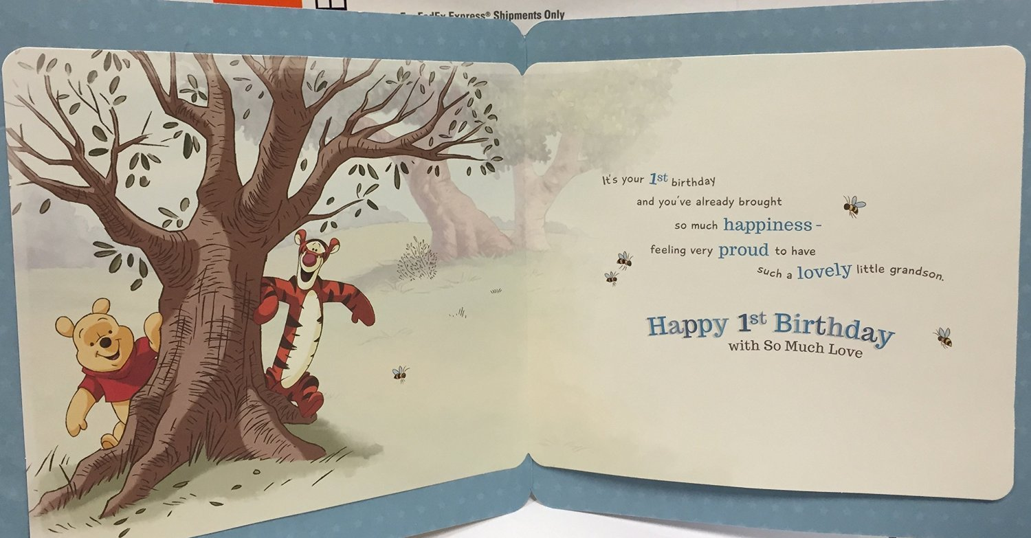 Amazon grandson 1st birthday winnie the pooh disney amazon grandson 1st birthday winnie the pooh disney birthday card office products bookmarktalkfo Image collections