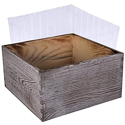 "1 Pcs Wood Planter Box Decorative Rustic Square Whitewashed Wooden Box Succulents Planter Garden Storage Box with Inner Plastic Box 7"" L x 7"" W x 3.5"" H for Floral Centerpiece Farmhouse Wedding Decor : Garden & Outdoor"